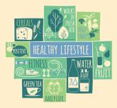 Healthy lifestyle Icons set — Stockvector