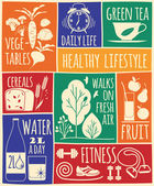 Healthy lifestyle Icons set — Stockvektor