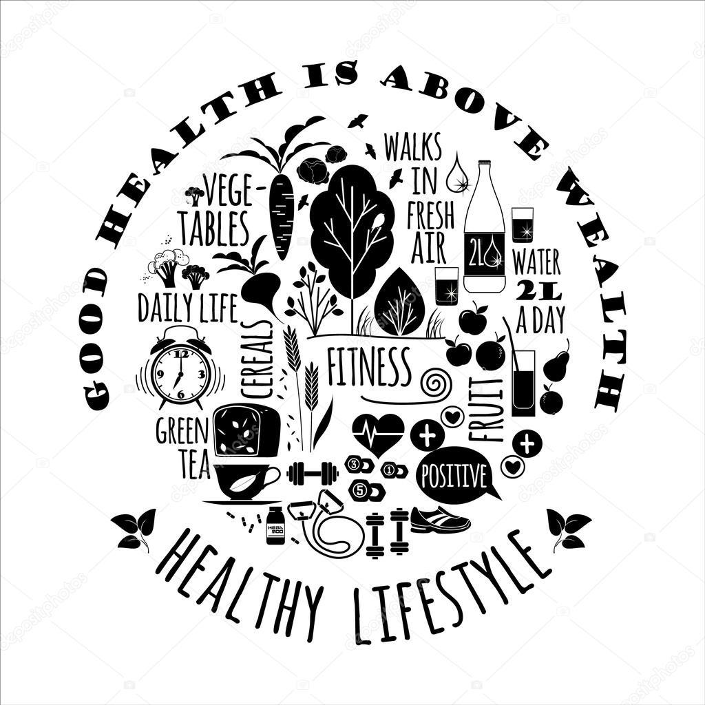 Healthy lifestyle vector illustration stock vector nadezda grapes 55321517 - Mode de vie japonais ...