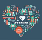 Fitness Icons background in heart shape.  I love fitness — Stock Vector