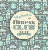 Fitness Icons background with typography. — Vettoriale Stock