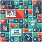 Fitness Icons background. Flat design.  — Stock Vector