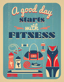 Fitness vintage poster. — Stock Vector