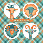 Vector illustration of goat and sheep, symbol of 2015. Hipster s — Stok Vektör
