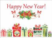 圣诞节和新年卡. — 图库矢量图片
