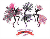 Illustration of dancing women in carnival costumes — 图库矢量图片