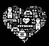 Fundo de ícones de aptidão — Vetor de Stock