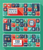 Fitness Icons banners — Stok Vektör