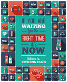 Poster with fitness Icons — Stok Vektör