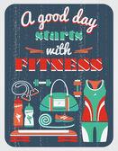 Плакат года изготовления вина фитнеса — Cтоковый вектор