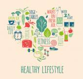Healthy lifestyle Icons set in the shape of heart — Stock Vector