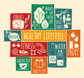 Healthy lifestyle Icons set — Stock Vector