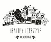 Healthy lifestyle background — Stock Vector