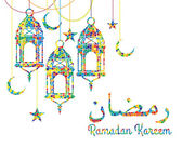 Ramadan background with Ramadan Kareem — Stock Vector