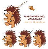 Hardworking hedgehog — Stock Vector