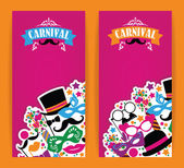 Celebration festive flyer with carnival icons and objects. — Stock Vector