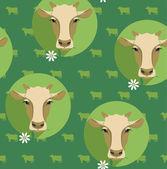 Vector modern flat design seamless illustration of cow. — Stock Vector
