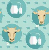 Vector modern flat design seamless illustration of milk. — Stock Vector