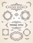 Set of Retro Vintage Badges, Frames, Labels and Borders. — Stock Vector