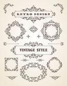 Set of Retro Vintage Badges, Frames, Labels and Borders. — Stok Vektör