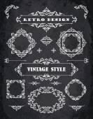 Set of Retro Vintage Badges, Frames, Labels and Borders. — 图库矢量图片