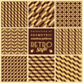 Set of vector seamless geometrical patterns.Vintage textures — Stockvector