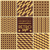 Set of vector seamless geometrical patterns.Vintage textures — Stock Vector