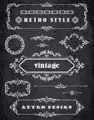 Set of Retro Vintage Frames and Borders.  Chalk Board Background — Stock Vector
