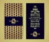 Invitation to retro party. Vintage retro geometric background. — Stock Vector