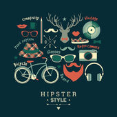 Flat design vector illustration of hipster style. — Stock Vector