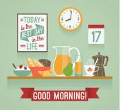Vector modern flat design illustration of breakfast. Good mornin — Stock Vector