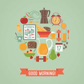 Vector modern flat design illustration of  Good morning. — Stock Vector