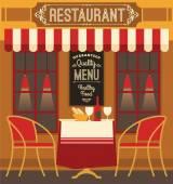 Vector modern flat design illustration of restaurant. — Stock Vector