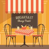 Vector modern flat design illustration of street cafe. — Stock Vector
