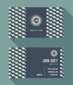 Business card template, vintage retro background with geometric — Stock Vector