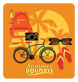 Vector flat  illustration of Active summer holidays. — Stock Vector