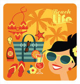 Vector illustration of traditional beach holidays. — Stock Vector