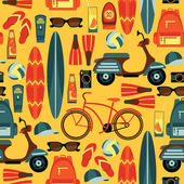 Vector seamless pattern of active summer holidays. — Stock Vector