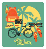 Vector illustration of active summer holidays. — Wektor stockowy