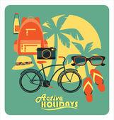 Vektör çizim etkin yaz tatilleri. — Stok Vektör