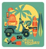Vector illustration of active summer holidays. — Stock Vector