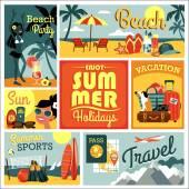 Vector illustration of traditional summer vacation. — Stock Vector