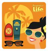 Vector flat  illustration of sunbathe. — Stock Vector