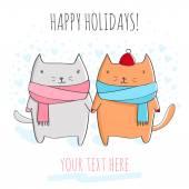 Tarjeta de felicitación con los gatos lindos. — Vector de stock