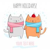 Greeting card with cute cats. — Stock Vector