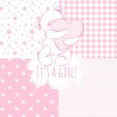 Baby shower: girl. — Stock Vector