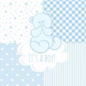 Baby shower: boy. — Stock Vector