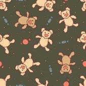 Naadloze patroon met teddy bears — Stockvector