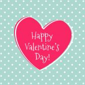 Valentine's greeting card with heart on polka dot background. Ve — Vector de stock