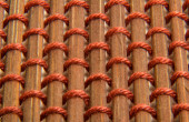 Brown bamboo skewer with string texture — Stock Photo